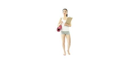 sport girl isolated on white worried with check list