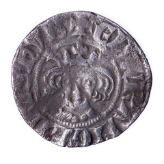 hammered silver penny of Edward I obverse