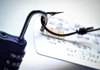credit card with open security lock - phishing