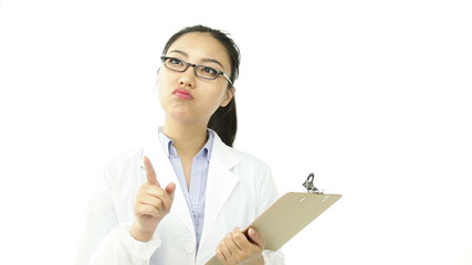 scientist doctor isolated on white worried with check list
