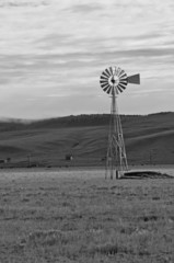 Farmland in America with Vintage Wind Pump