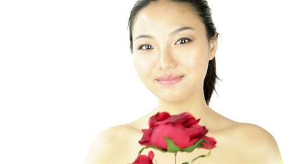Attractive asian woman on white