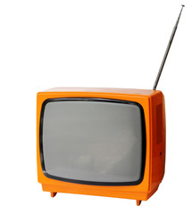 Vintage analog television isolated over with clipping path.