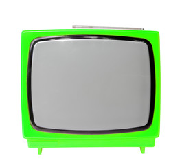 Green vintage analog television isolated with clipping path.