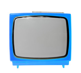 Blue vintage analog television isolated with clipping path.