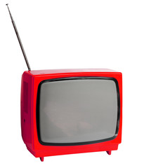 Red vintage analog television isolated over with clipping path.