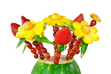 edible fruit bouquet on white