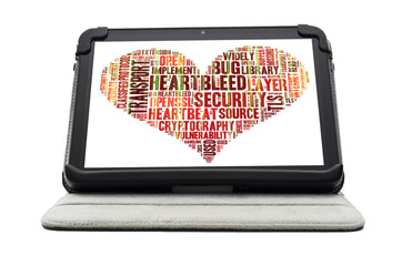 Heartbleed exploit concept word cloud forming a heart shape on a