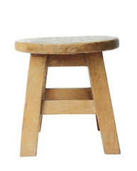 Wooden stool isolated by hand made isolated with clipping path.