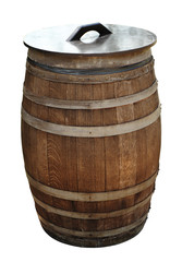 Old wood barrel isolated with clipping path
