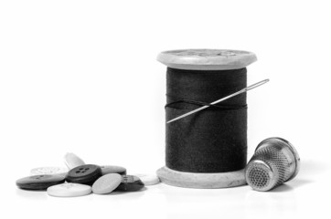 sewing utensils in black and white