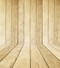 Wooden room in perspective view, grunge background.