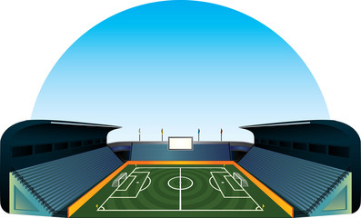 Vector football soccer field stadium illustration