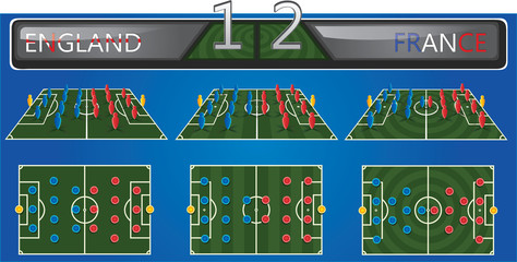 Vector soccer field with strategy formation