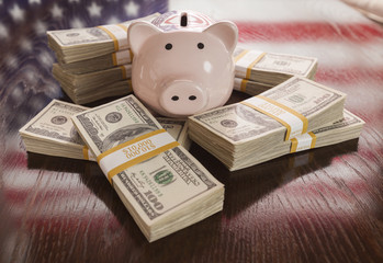 Thousands of Dollars, Piggy Bank, American Flag Reflection on Ta