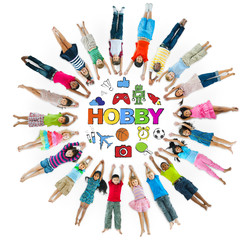 Group of Children Circle with Hobby Symbols