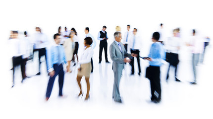 Group Of Business People Working Blurred Motion