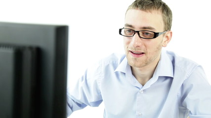 confident business man with computer isolated white