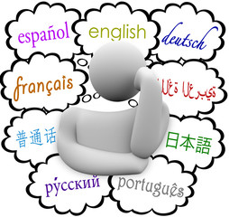 Languages Thought Clouds English Spanish German French