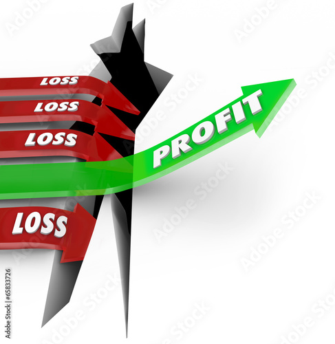 Proft Vs Loss Making Money Revenue Arrow Over Hole