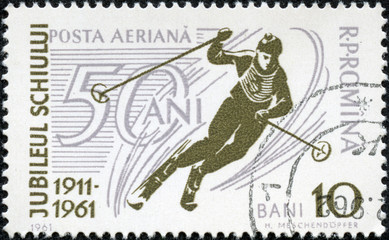 stamp printed in the Romania depicted Speed skiing