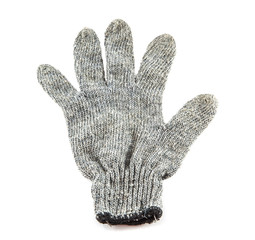 Grey knitted winter gloves