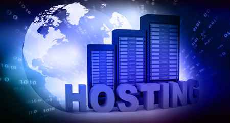 Hosting with computer servers on abstract background