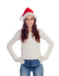 Attractive casual girl with Christmas hat