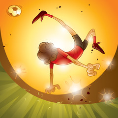 A soccer player performing bicycle kick