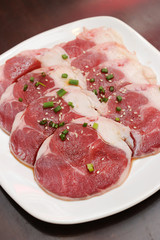 Fresh Beef slices on white plate korean grilled menu