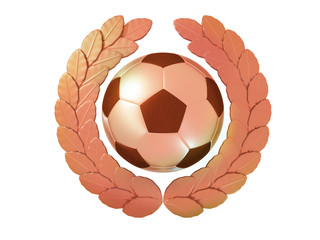 Soccer ball in the bronze Laurel wreath