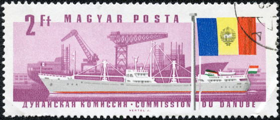 stamp printed by Hungary, shows ship and flag