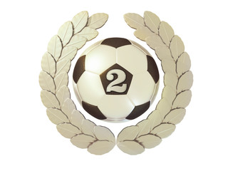 Silver Soccer ball with the number 2 in a Laurel wreath