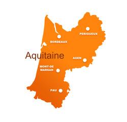 région aquitaine avec préfectures