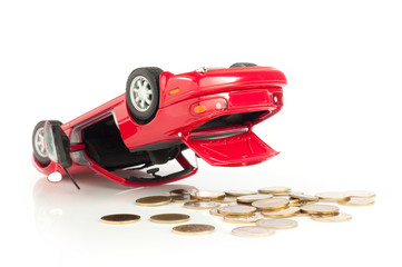 Red sport Car Crash, accident, Loss money isolated