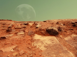 Mars-like surface with a big moon in the sky