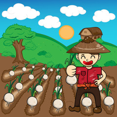 Farmer and onion plants a harvest vector cartoon