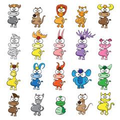 vector illustration of different wild animals cartoons