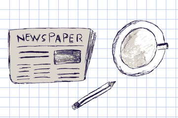 newspaper, a cup of coffee and pen