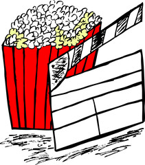 hand draw sketch of popcorn and film clapper