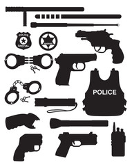 Vector police equipment set isolated on white background