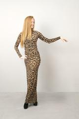 Portrait of a woman in leopard dress