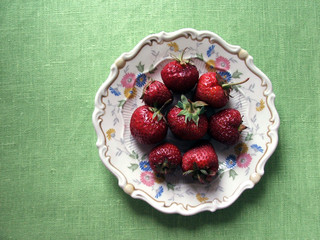 Strawberries on a vintage plate