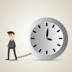 cartoon businessman gets chained with big clock