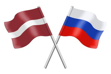 Flags : Latvia and Russia
