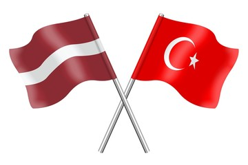 Flags : Latvia and Turkey