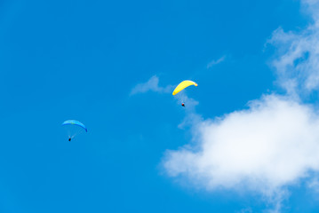 Yellow and Blue Hang Gliders