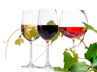 Wine. Three Glasses of wine isolated on white