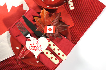 Happy Canada Day dinner party table setting