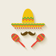Mexican sombrero and  maracas - 65842125